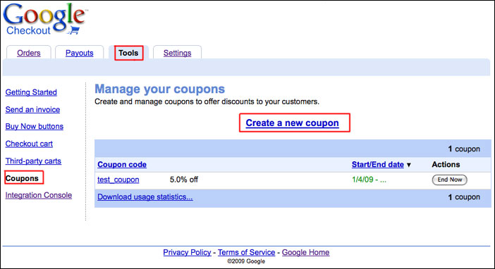 Create a coupon in Google Checkout