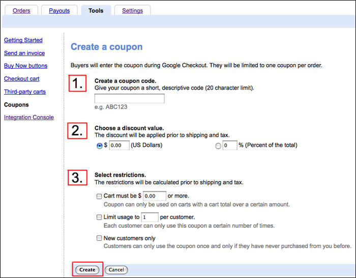 use coupons with google checkout tips for creating an online store
